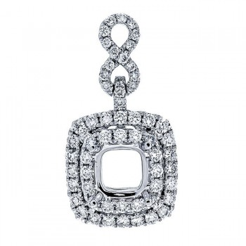 18K White Gold Pendant Semi-Mount for a Cushion Center