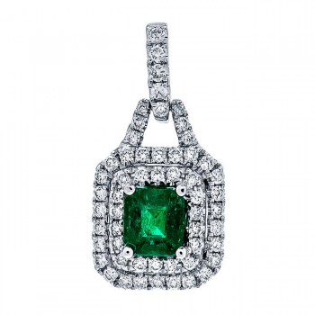 18K White Gold Emerald Pendant