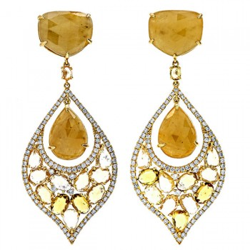 18K Yellow Gold Fancy Sapphire Earrings