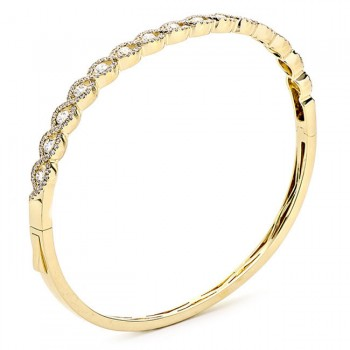 18K Yellow Gold and White Diamond Bangle