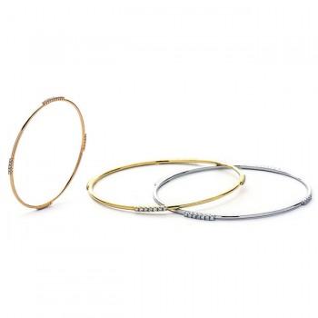 18K Tri-Color Gold Diamond Bangle Set