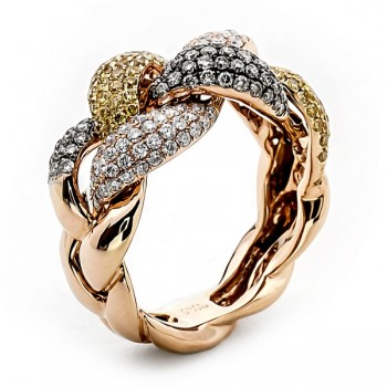 Yellow, Brown and White Diamond Band