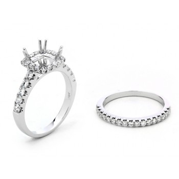 18K White Gold Semi-Mount for a 1.25ct Cushion Center