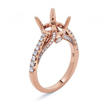 18K Rose Gold Semi-Mount for a 2.00ct Round Center
