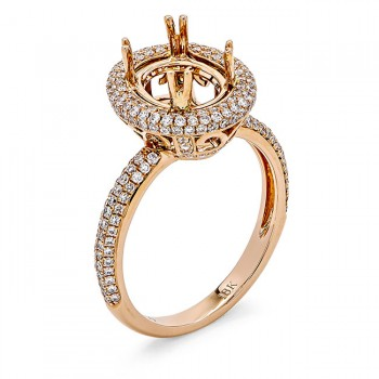 18K Rose Gold Semi-Mount for a 9x7mm Oval Center