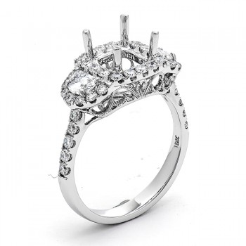 18K White Gold Semi-Mount for a 6.6mm Cushion Center