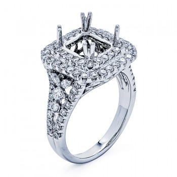 18K White Gold Semi-Mount for a 8x7mm Cushion