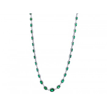 18K White Gold Emerald and Diamond Necklace