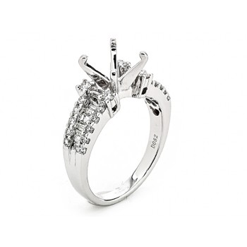 18K White Gold Semi-Mount for a 2ct Round Center