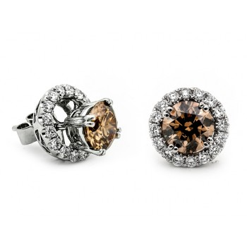 18K White Gold Brown Diamond Studs