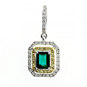 18K Two-tone Gold Emerald Pendant