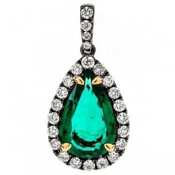 18K Black Rhodium Emerald Pendant