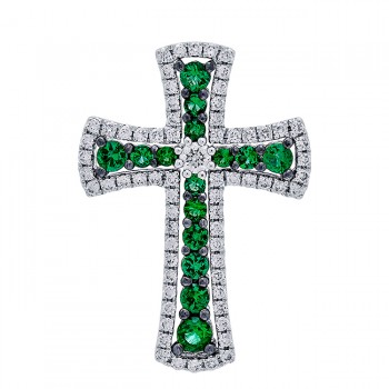 18K White Gold Emerald Cross Pendant