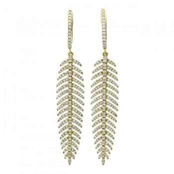 18K Yellow Gold Diamond Earrings