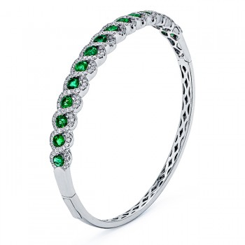 18K White Gold Emerald Bangle